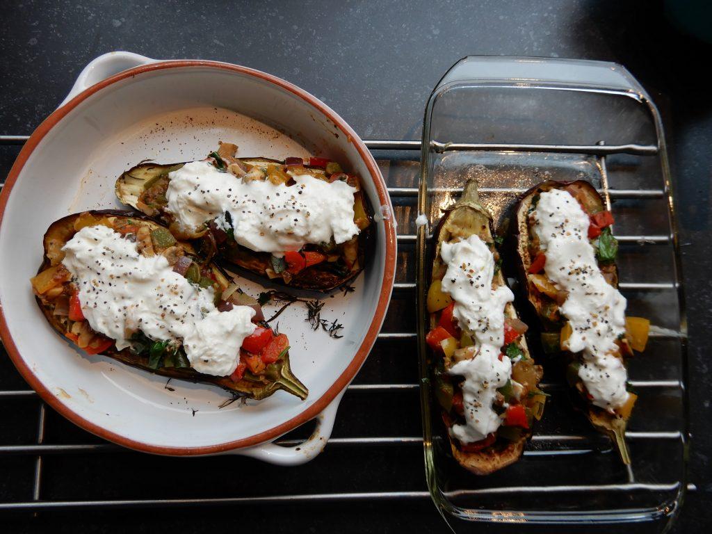 gevulde aubergine met kaas en groente recept
