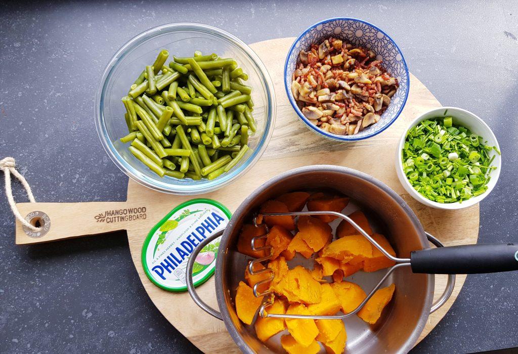Recept zoete aardappelstamppot met sperziebonen en roomkaas zonder pakjes en zakjes
