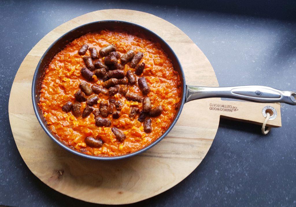 Recept gnocchi met geroosterde paprika en worst