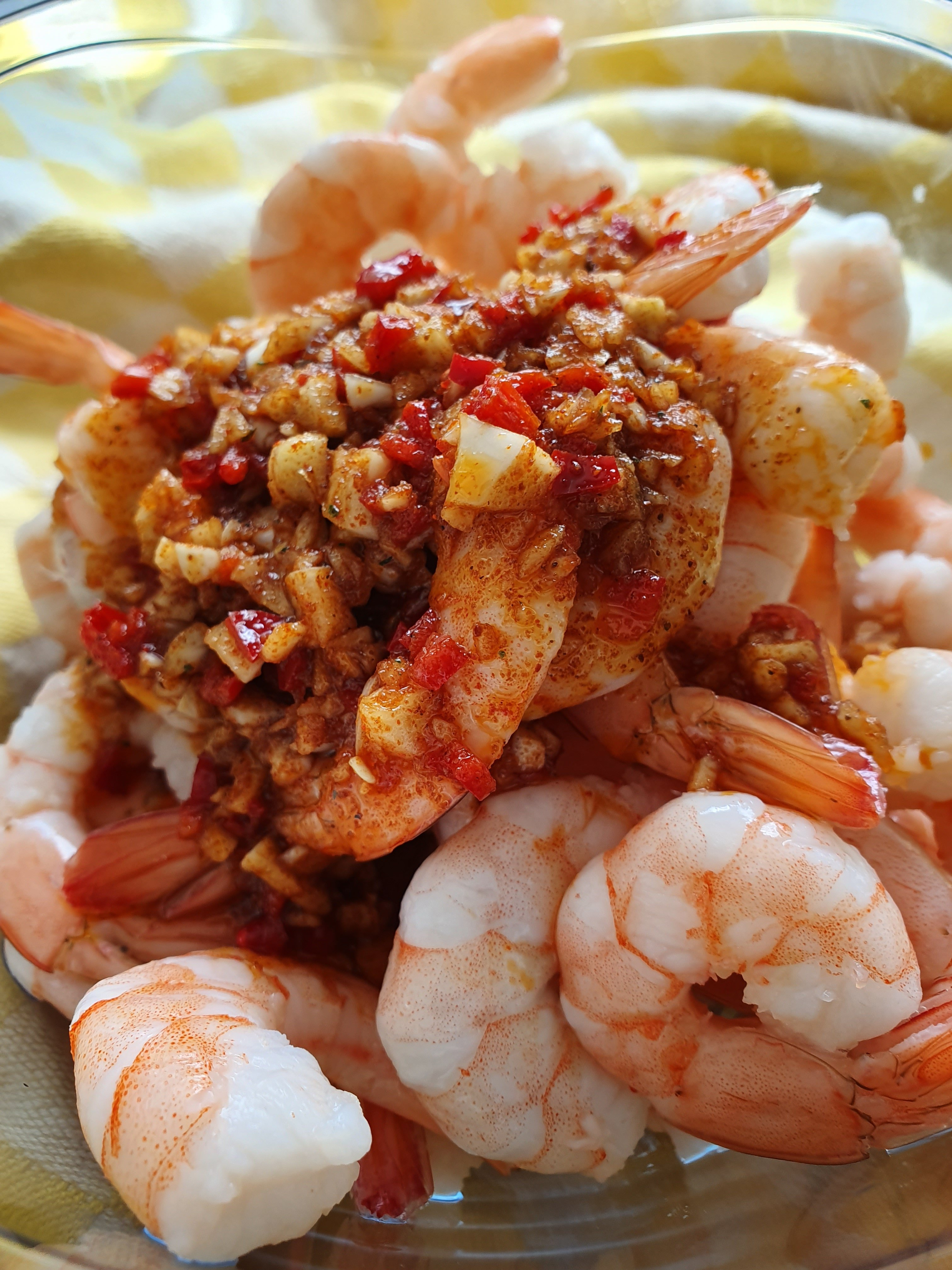 garnalenspiesjes met spek en pittige marinade recept
