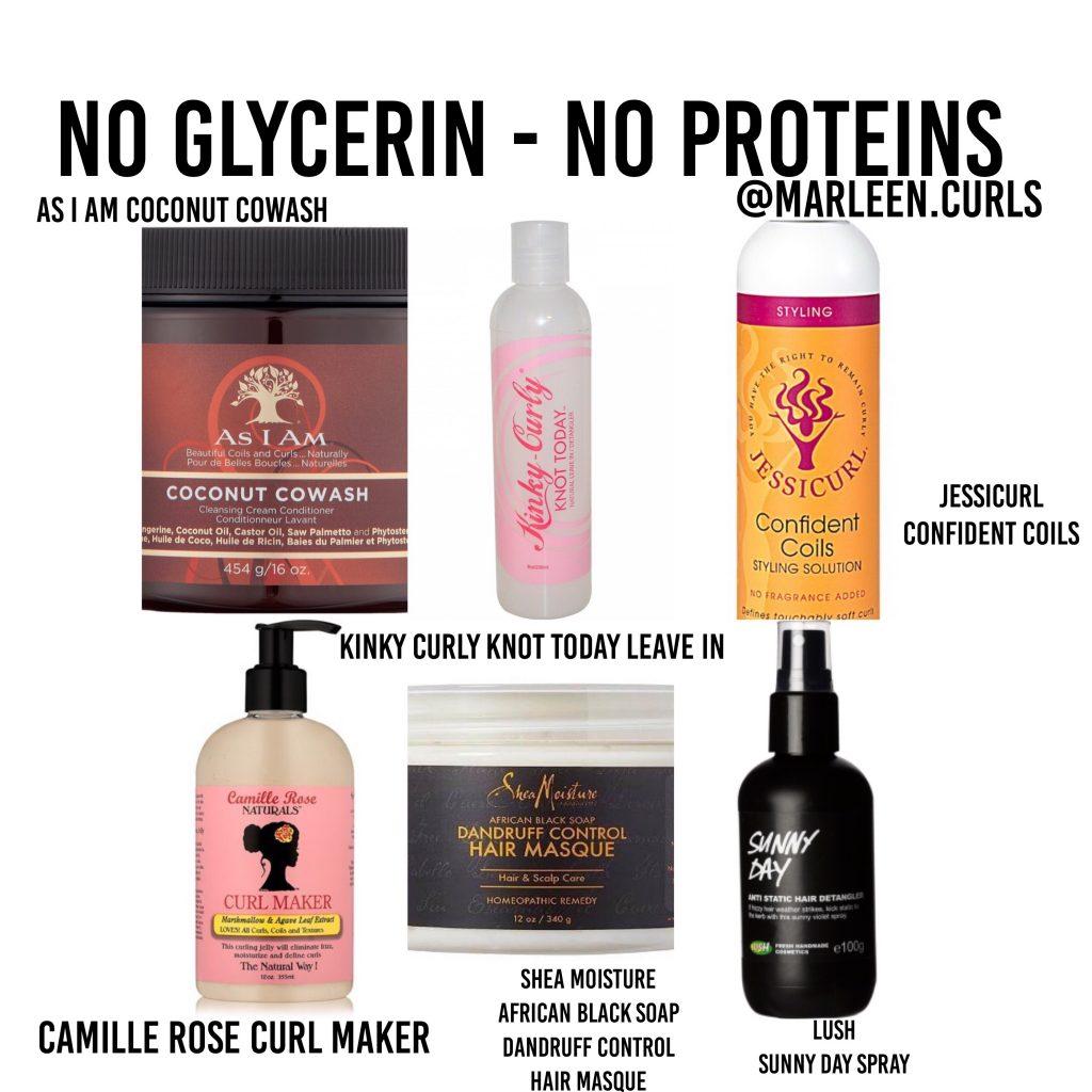 haar producten zonder glycerine zonder proteine